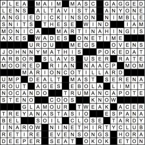 September 2018 Crossword Answer Key