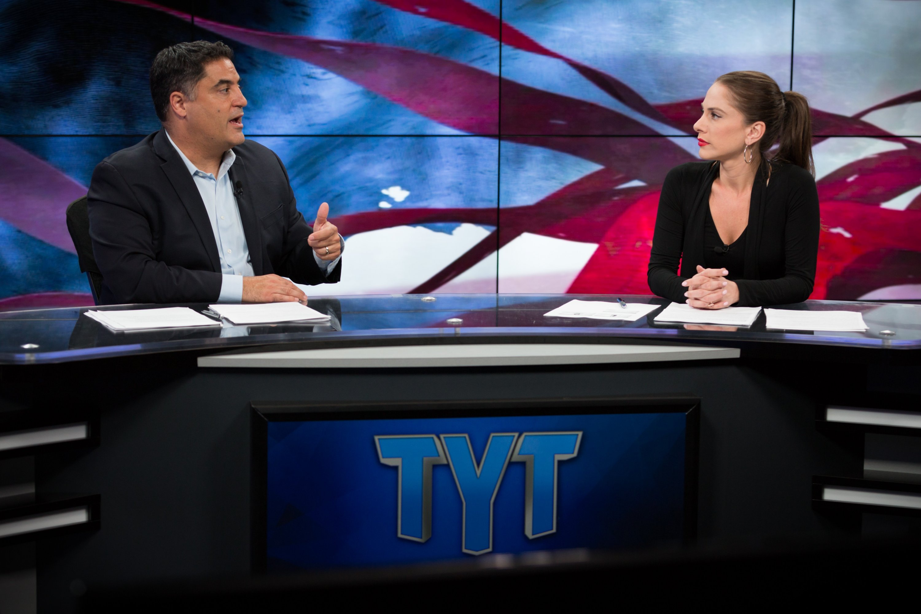Uygar and co-host Ana Kasparian in TYT's Culver City studio. Photo by Cassandra Hanks.
