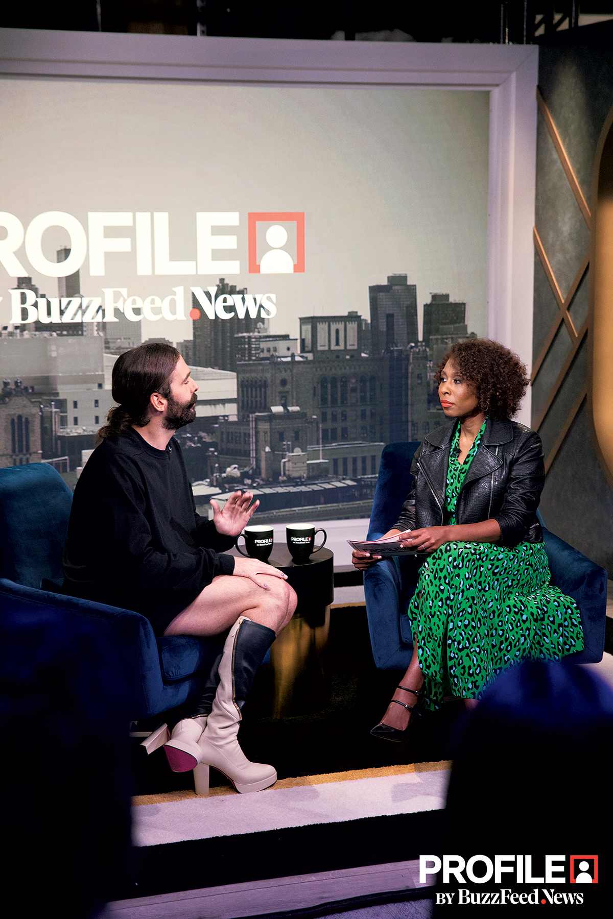 Cornish chats with Queer Eye's Jonathan Van Ness on the first episode of her new interview show, Profile, which airs on Facebook. Photograph courtesy of Buzzfeed.
