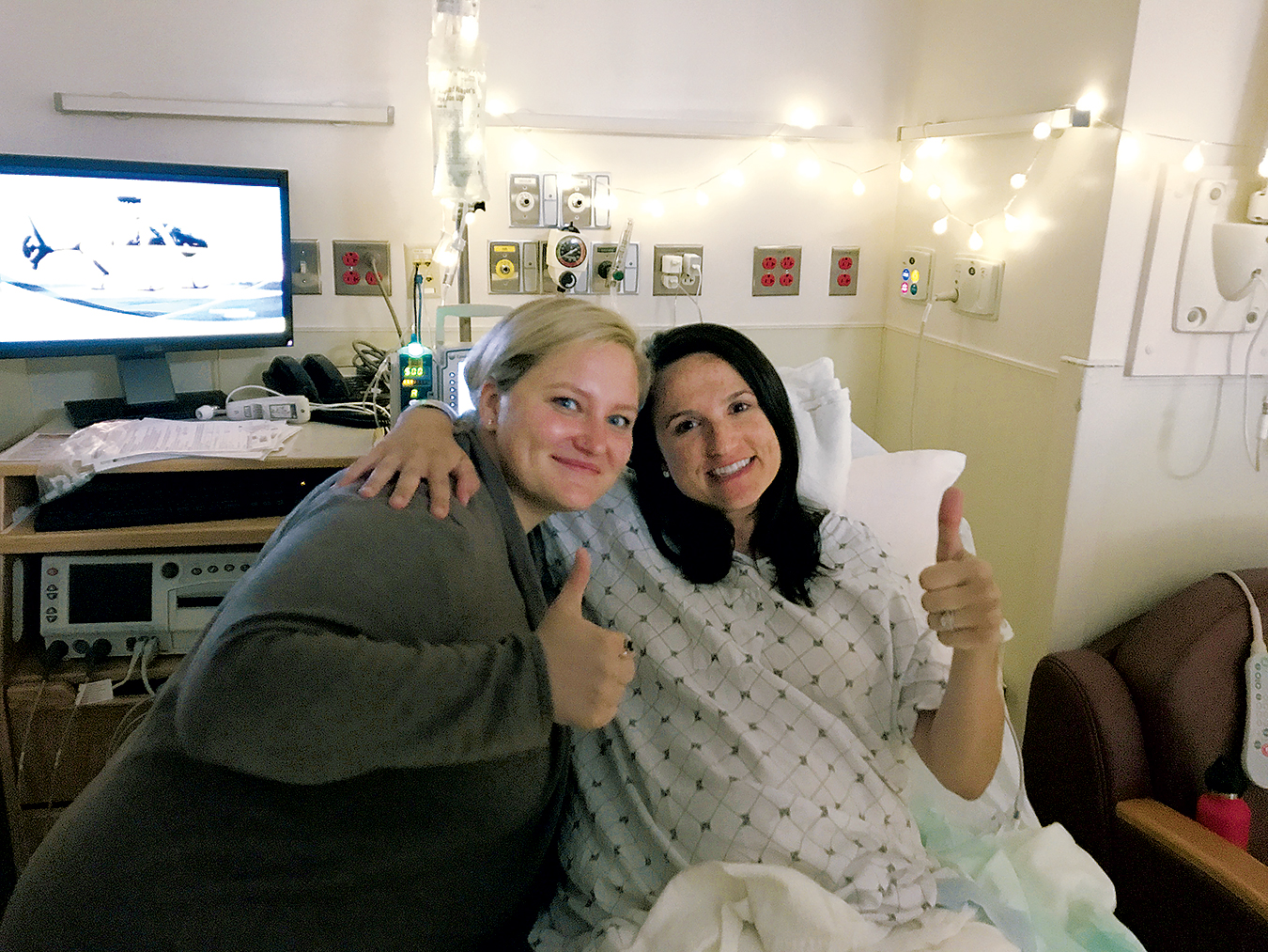 When Liz Palka Minukas was at the hospital in labor, doula Casey Runck helped her relax by hanging twinkle lights around the bed. Photograph courtesy of Casey Runck.