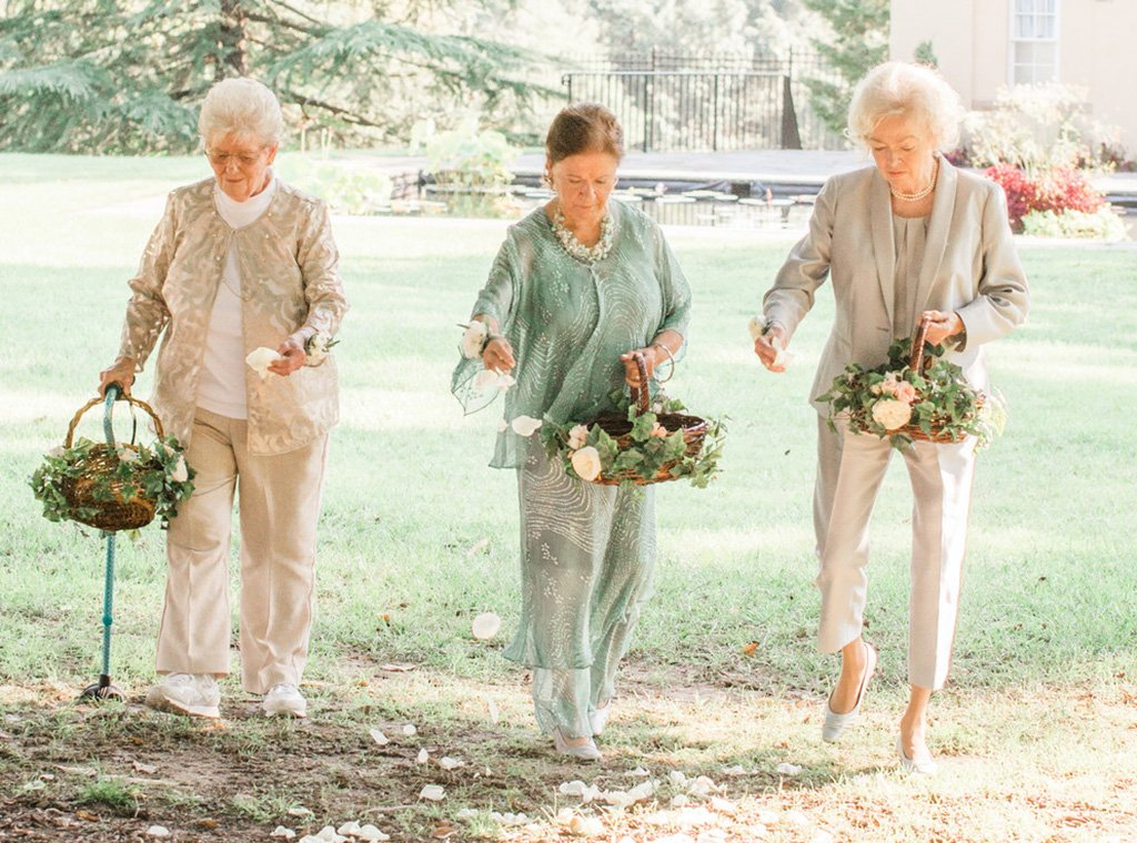 "Forget Flower Girls—Chic ""Flower Grannies"" Led the Way Down the Aisle at this Wedding"