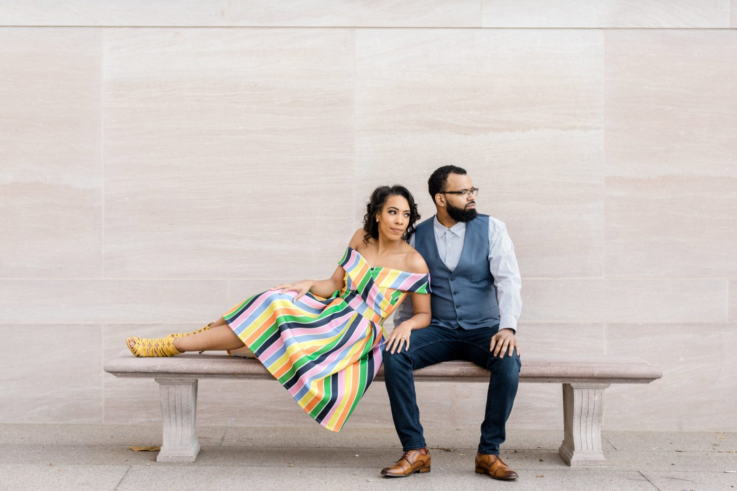 The Amazing Rainbow Dress in this National Gallery of Art Engagement Shoot will Brighten Up Your Rainy Day