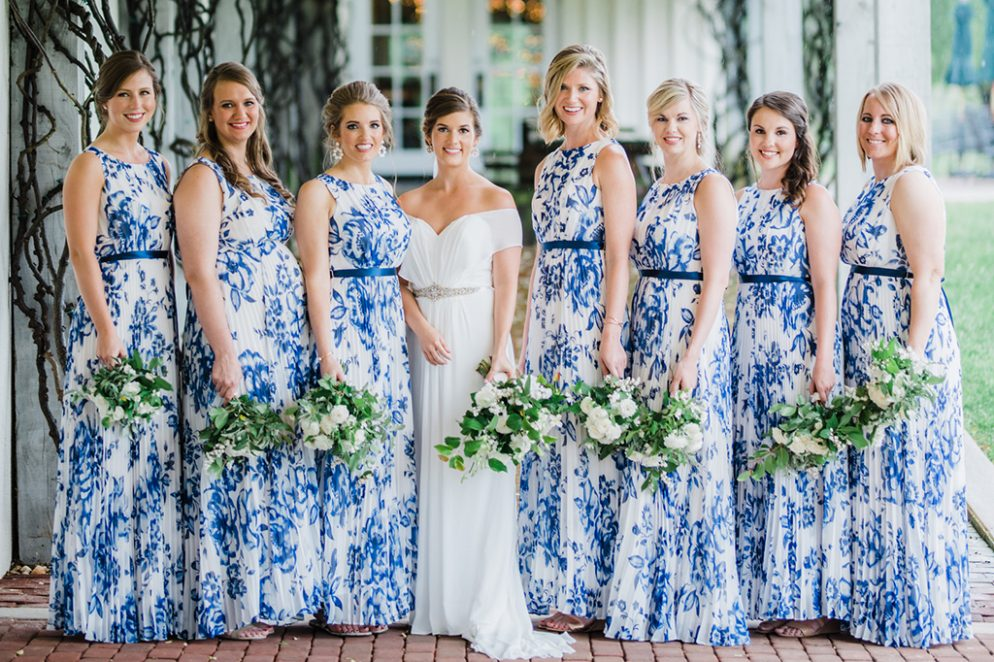 We Can't Get Enough of the Toile-Printed Bridesmaids Dresses at this Rainy Day Wedding
