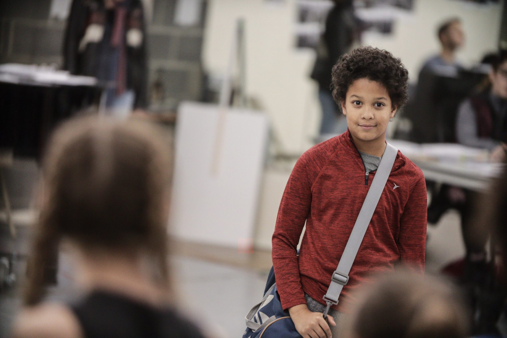 Owen Tabaka in rehearsal for Billy Elliot at Signature Theatre. Photo by Christopher Mueller.