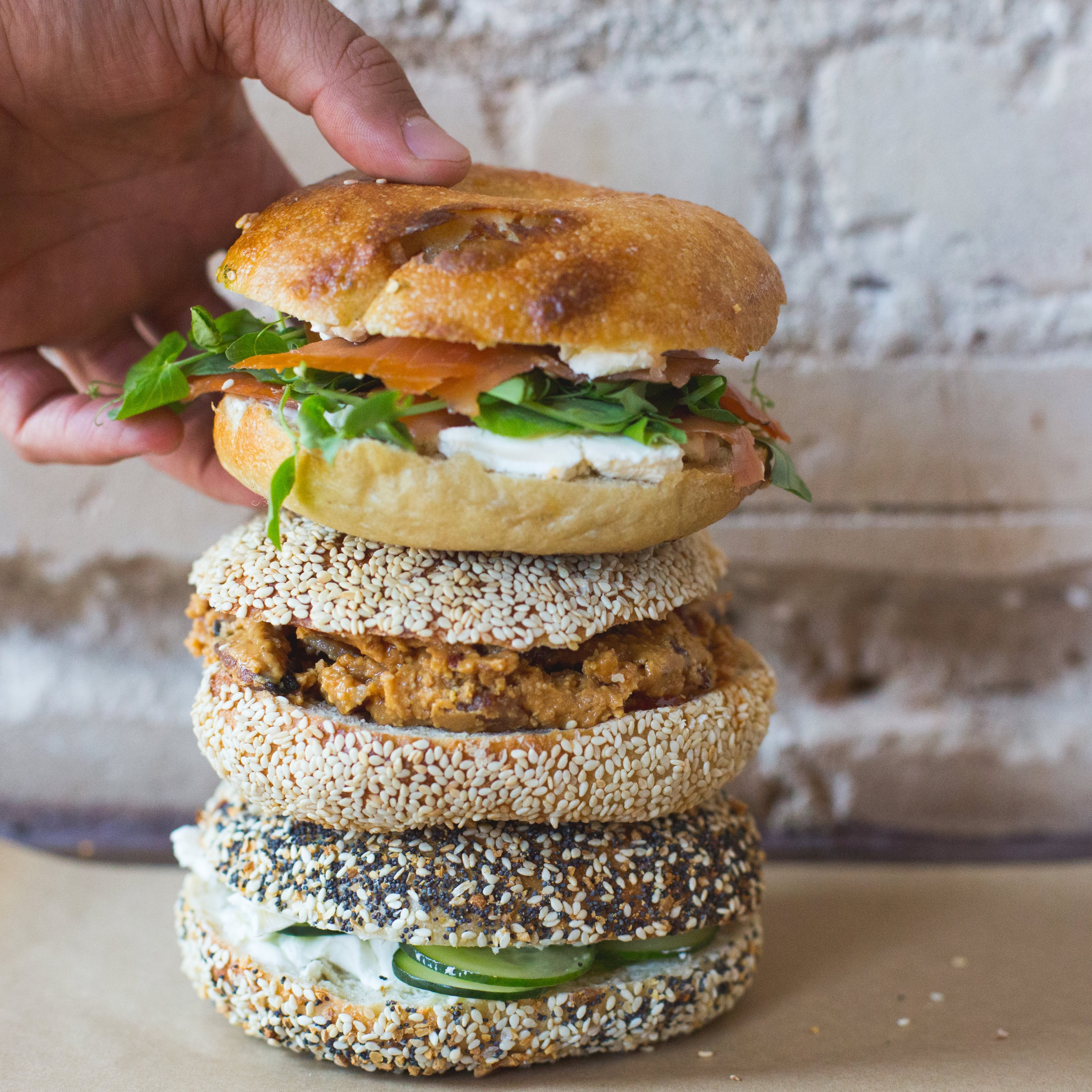 Bagel sandwich stack at Call Your Mother. Photograph by Maya Oren.