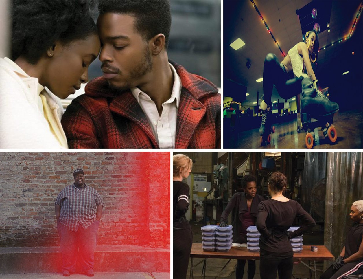 """If Beale Street Could Talk,"" ""United Skates,"" ""This Little Light,"" and ""Widows."" Photographs courtesy of Smithsonian African American Film Festival."