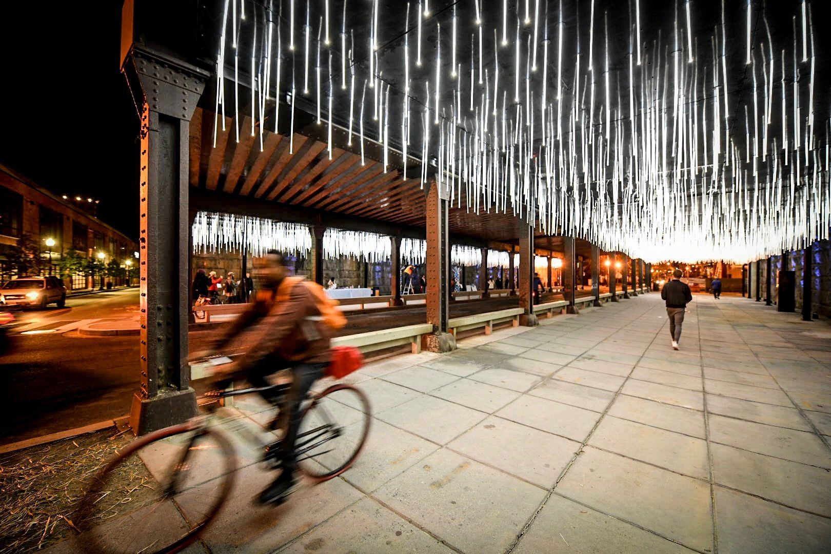 """Rain,"" the first of four light installations it has planned for underpasses from the NoMa/Gallaudet Metro stop south to Union Station. Photos courtesy of the NoMa Parks Foundation."