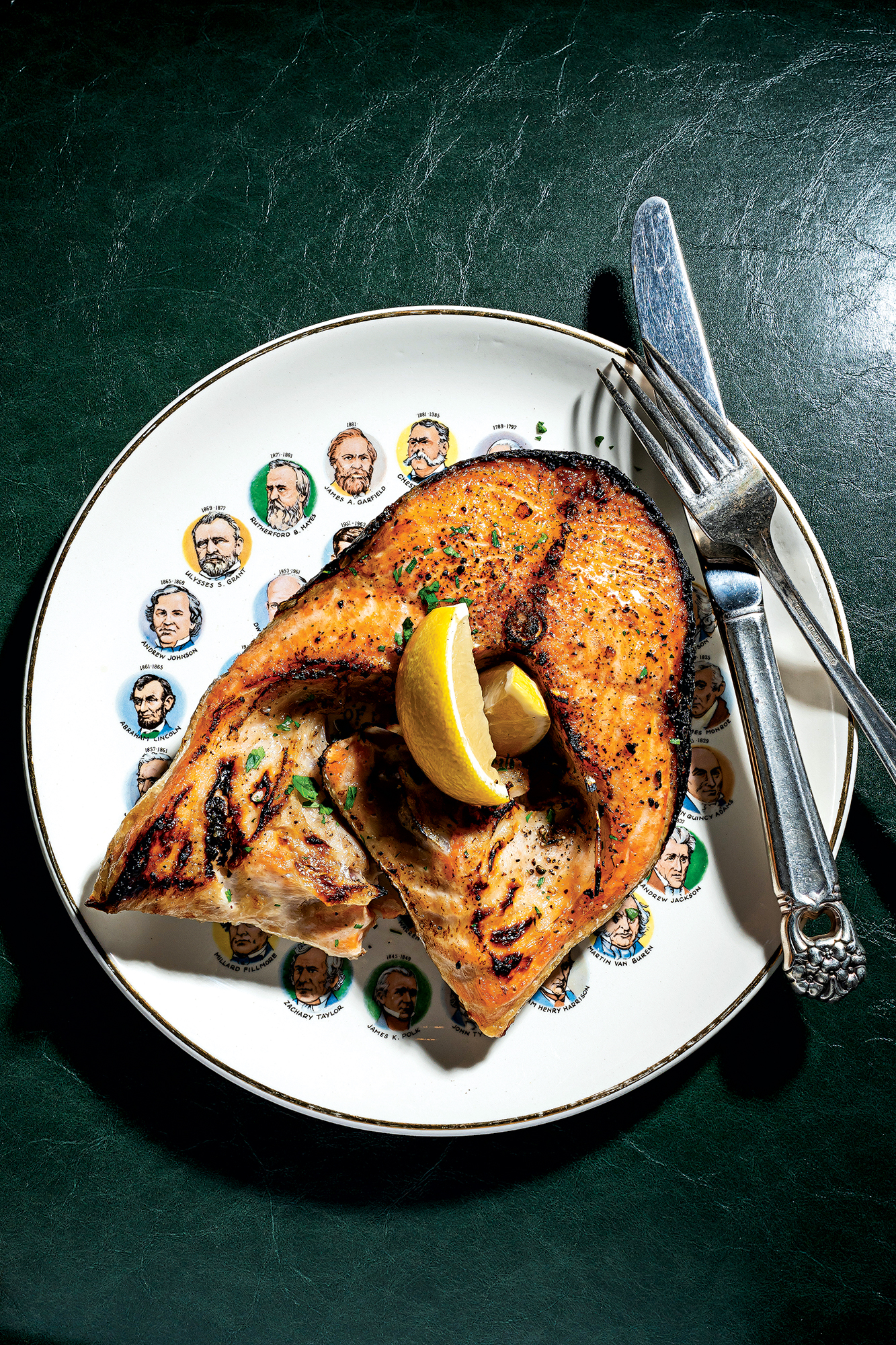 Grilled salmon collar at St. Anselm, the new restaurant from Stephen Starr and Joe Carroll. Photograph by Scott Suchman.