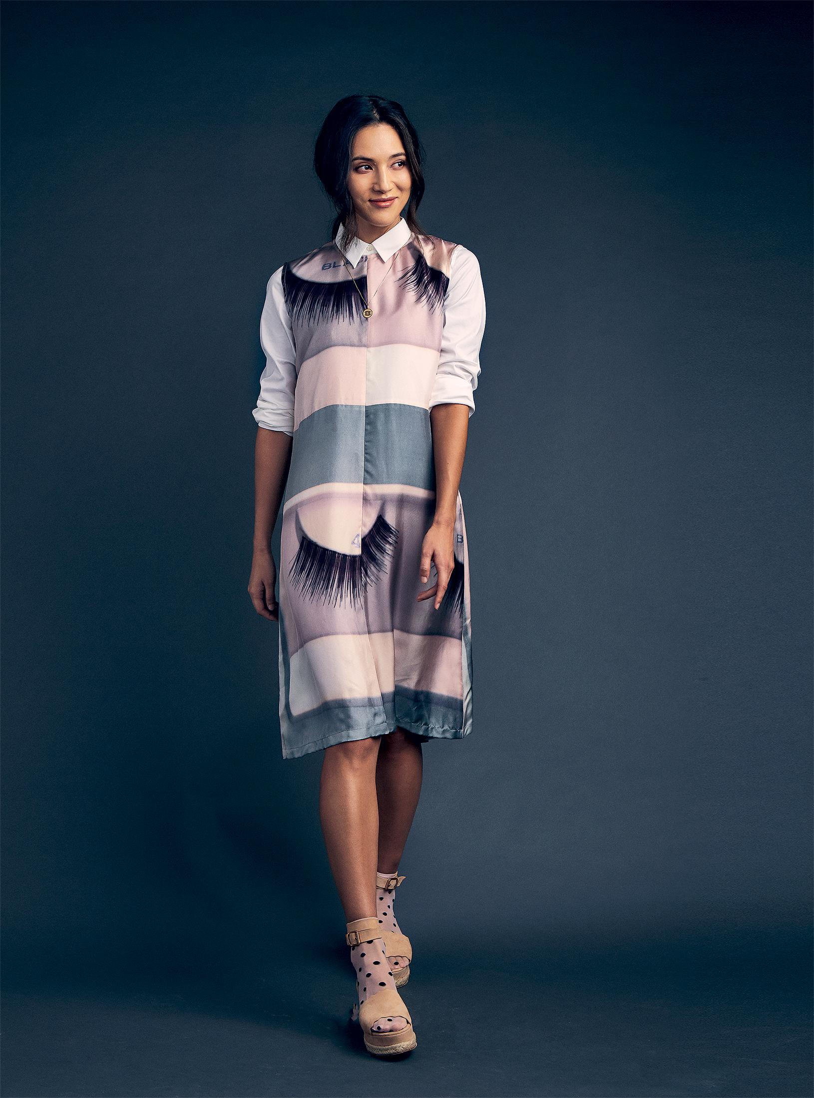 "Theory button-down shirt, $265 at Saks; ""Lashes"" print dress, $1,650 at Céline; Chloé nude ankle-wrap espadrilles, $595 at Saks; sheer pink polka-dot socks, $6.50 at asos.com."