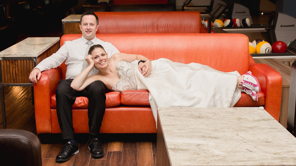 Best Wedding Reception Idea Ever: Throw Your Party at a Bowling Alley (And Don't Bother Changing Out of Your Wedding Dress)