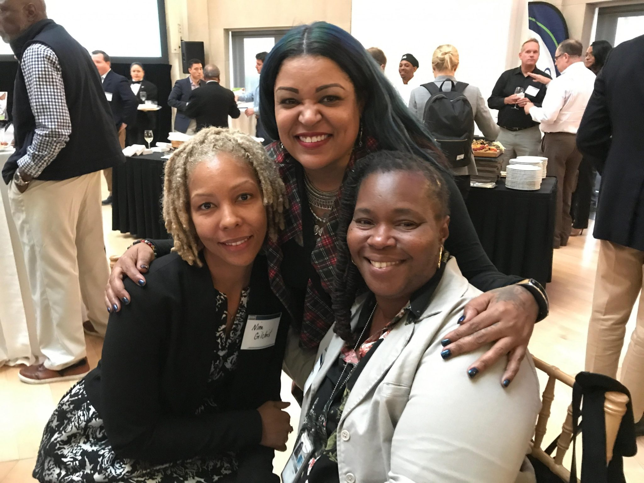 Nina Gilchrist, Chef Lozita King, and Dione Simmons (left to right) pose at the RAMW event where ProStart was announced.