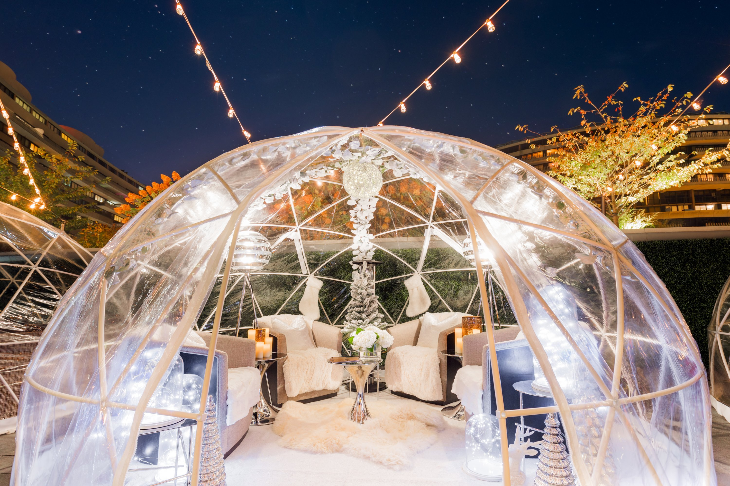 Get cozy in a luxury igloo at the Watergate. Photograph courtesy of the Watergate.