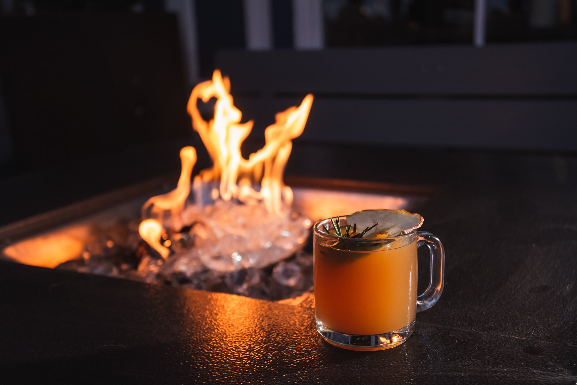 Warm up with a drink by the fire at the Salt Line. Photograph by Paul Kim.