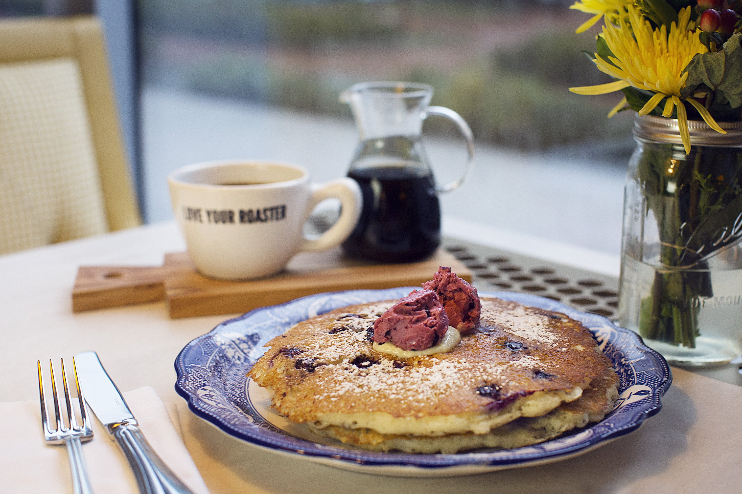 Blueberry pancakes at Farmers & Distillers. Photograph courtesy of Farmers Restaurant Group.