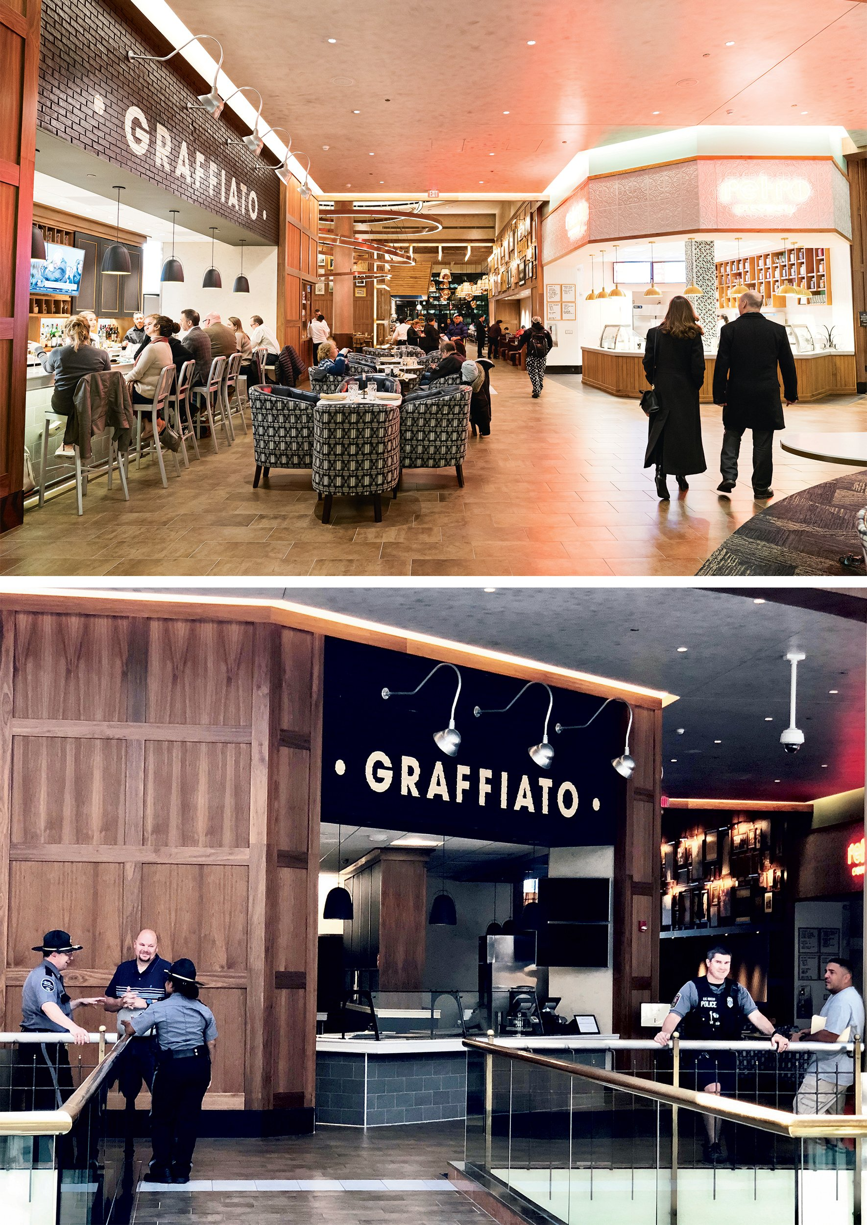 Isabella Eatery, at Tysons Galleria, was an extraordinary concept: a 41,000-square-foot mall food court branded by one personality. But only nine months after opening, it closed and hundreds of people lost their jobs. On its last day (bottom), Mike Isabella didn't show up, but police were on hand to watch it shutter. Top photograph by Scott Suchman, bottom by Evy Mages.