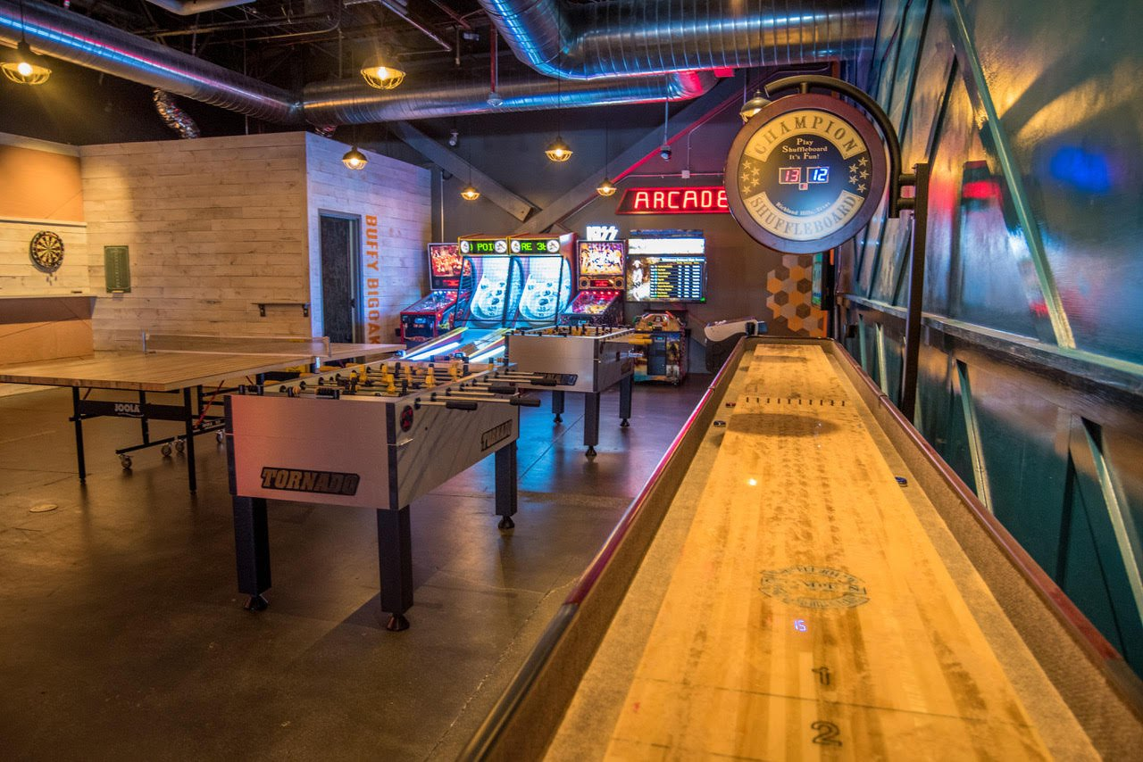 Arcade game room at Punch Bowl Social Rancho Cucamonga, California. Photograph Courtesy of Punch Bowl Social.