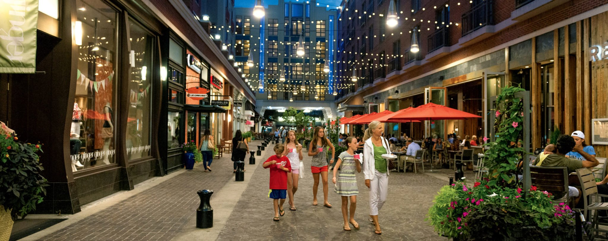 Bethesda Row is the downtown area's shopping and dining hub. Photograph by Andrew Propp.