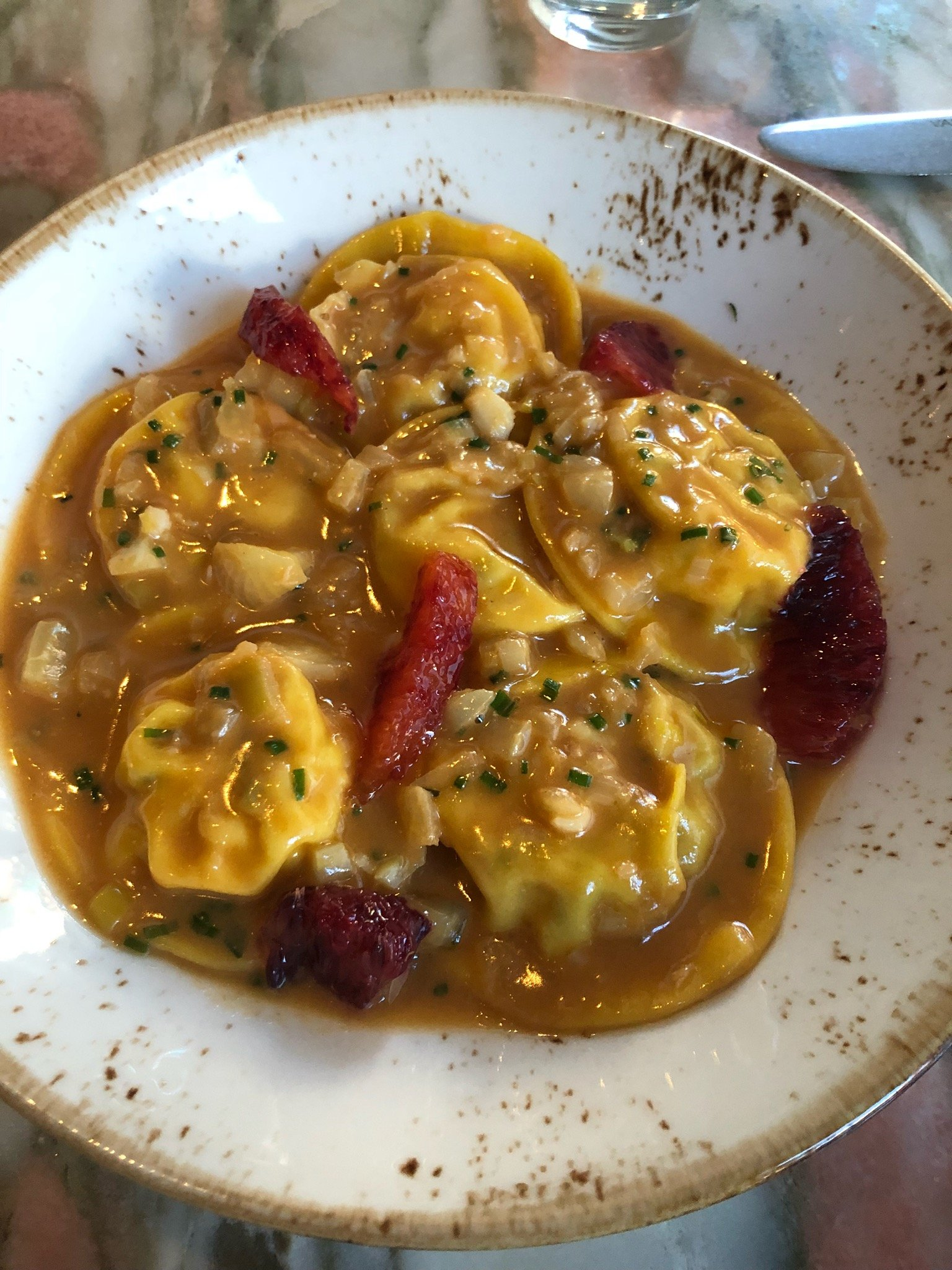 Lobster ravioli at San Lorenzo. Photograph courtesy of San Lorenzo.