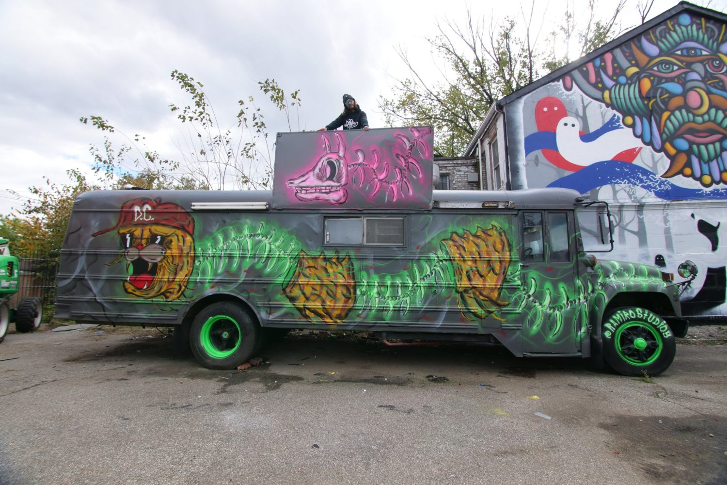 The painted bus that inspired the name, Electric Kool-Aid. Photograph by Lisa Bolden.