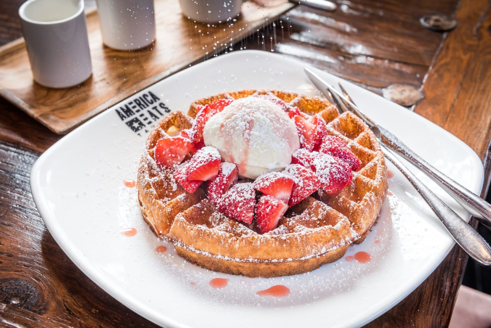 House-made waffles at America Eats Tavern in Georgetown. Photograph by Rey Lopez.