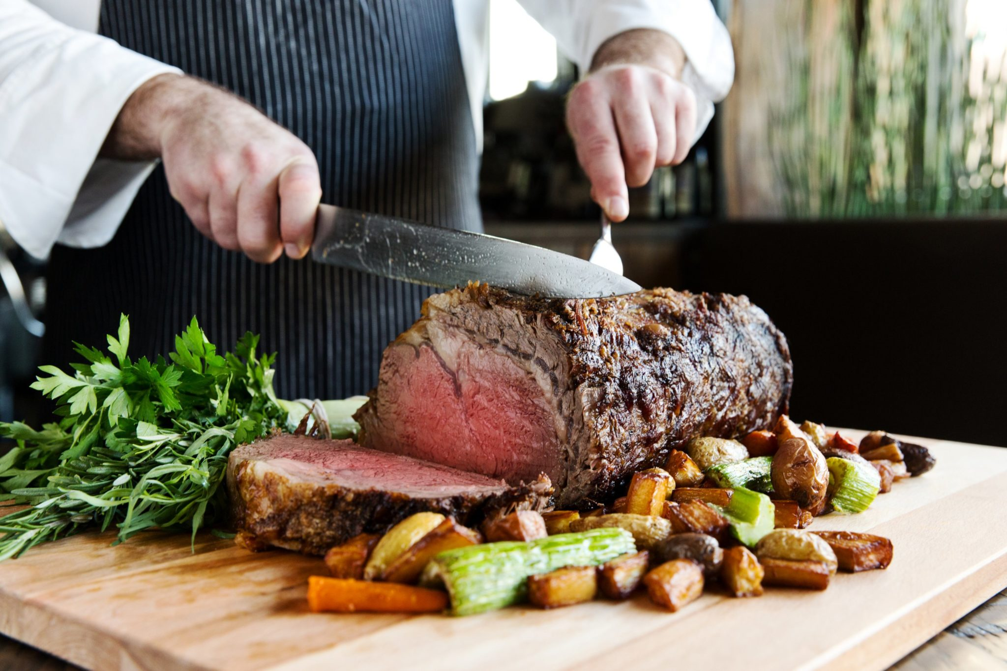 Carving prime rib at City Perch. Photograph courtesy of City Perch.
