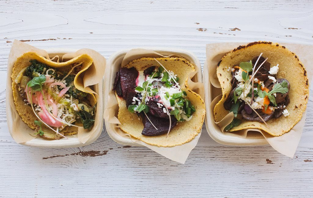 Chai tacos with seasonal combinations (left to right): creamy kale and potato, citrus-roasted beets, and mushrooms with salsa roja and feta.