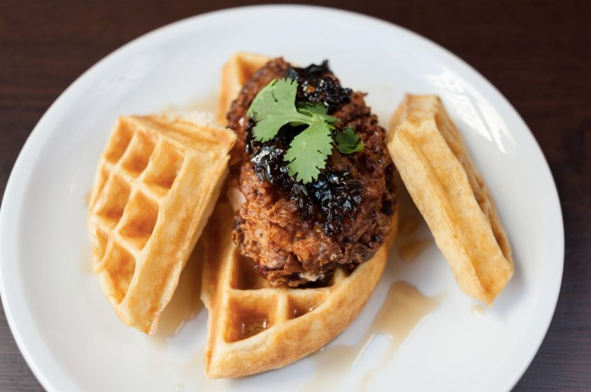 Chicken and waffles at Bar Deco. Photograph courtesy of Bar Deco.