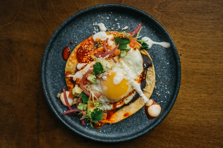 The breakfast tostada at Buena Vida. Photograph by Timothy Yantz.