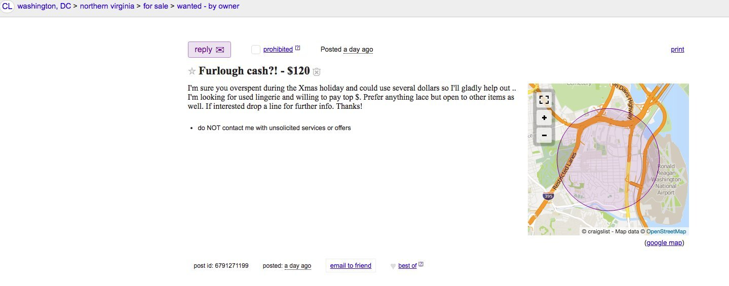 Craigslist Poster Capitalizes on Shutdown By Offering Cash