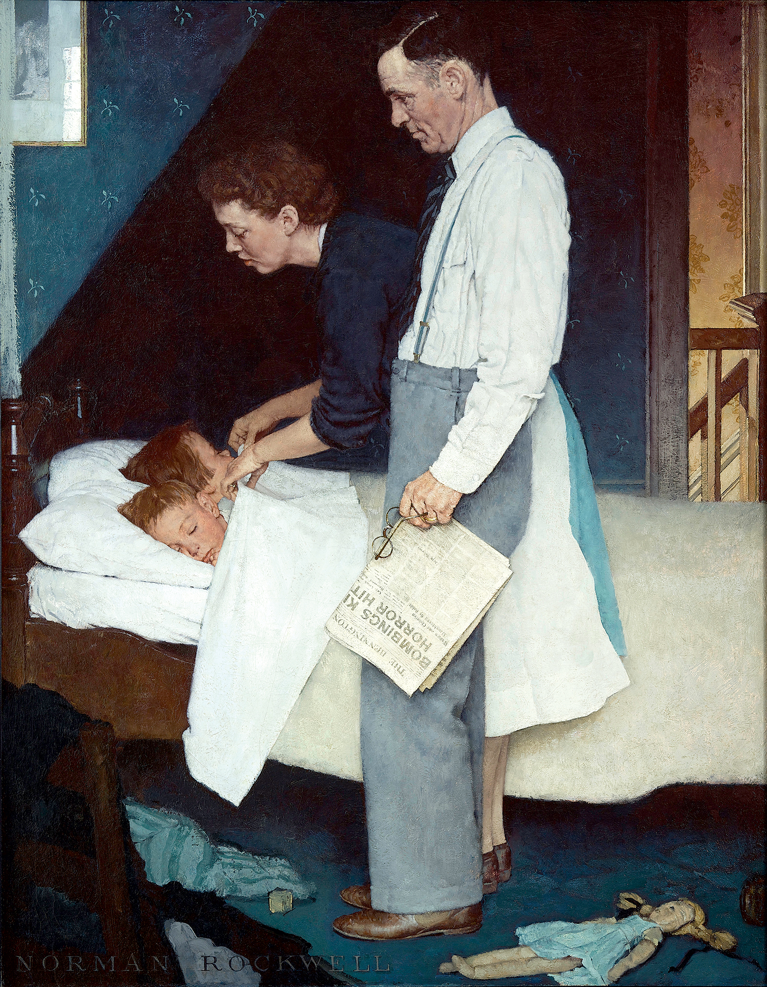 "Photograph of ""Freedom from Fear"" courtesy of Norman Rockwell Museum, © Seps: Curtis Licensing, Indianapolis, Ind."