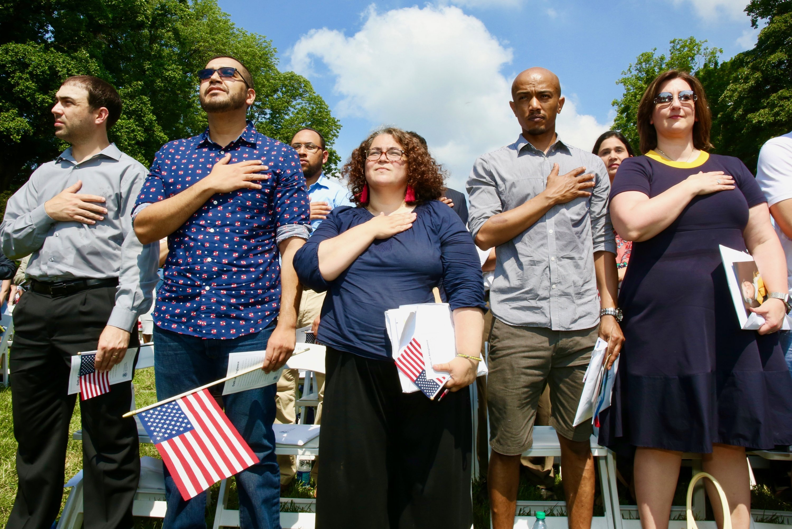 Photographs of Immigrants Becoming U.S. Citizens: Citizenship ceremony at Mt. Vernon.