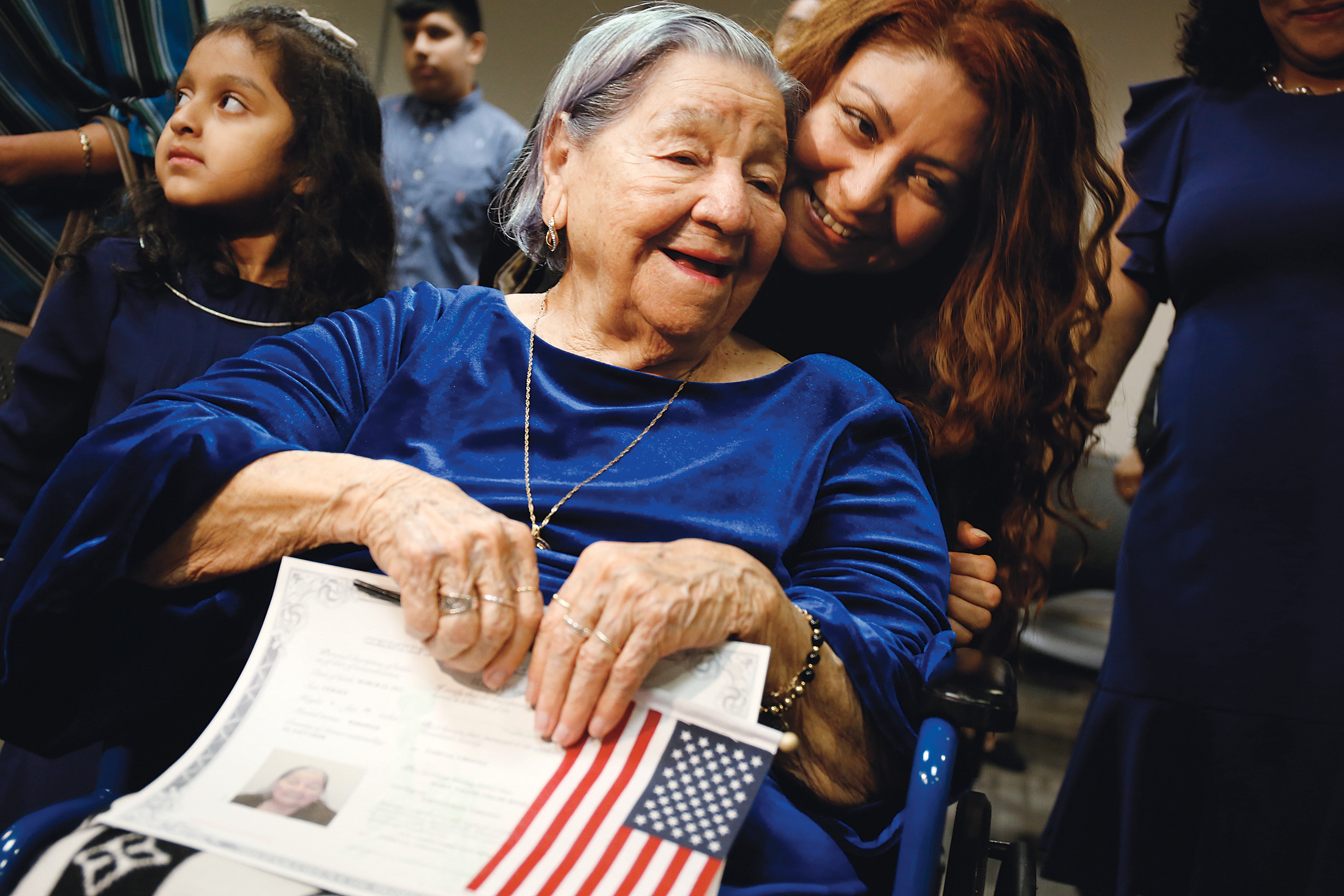Photographs of Immigrants Becoming U.S. Citizens: US Citizenship and Immigration Services, Washington Field Office, November 6, 2018. Maria Valles de Bonilla took the oath at age 106.
