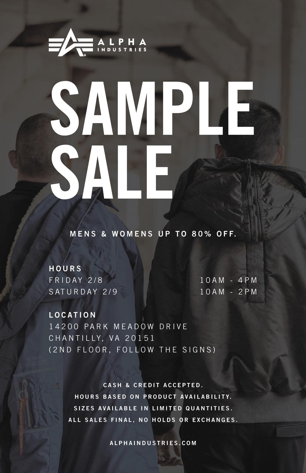 Alpha Industries Sample Sale