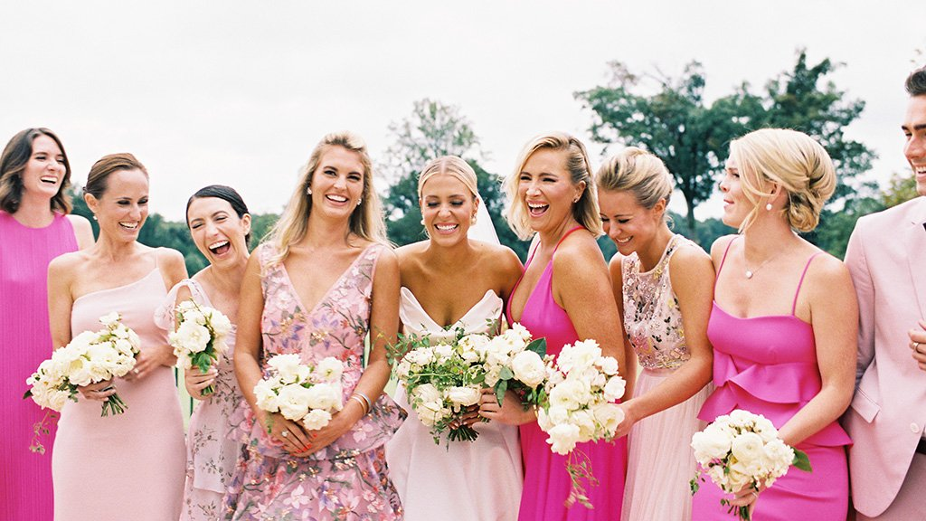 mix-and-match bridesmaids gowns pink bridal party pink bridesmaids gowns abby jiu Elizabeth Caccia Michael Kelly