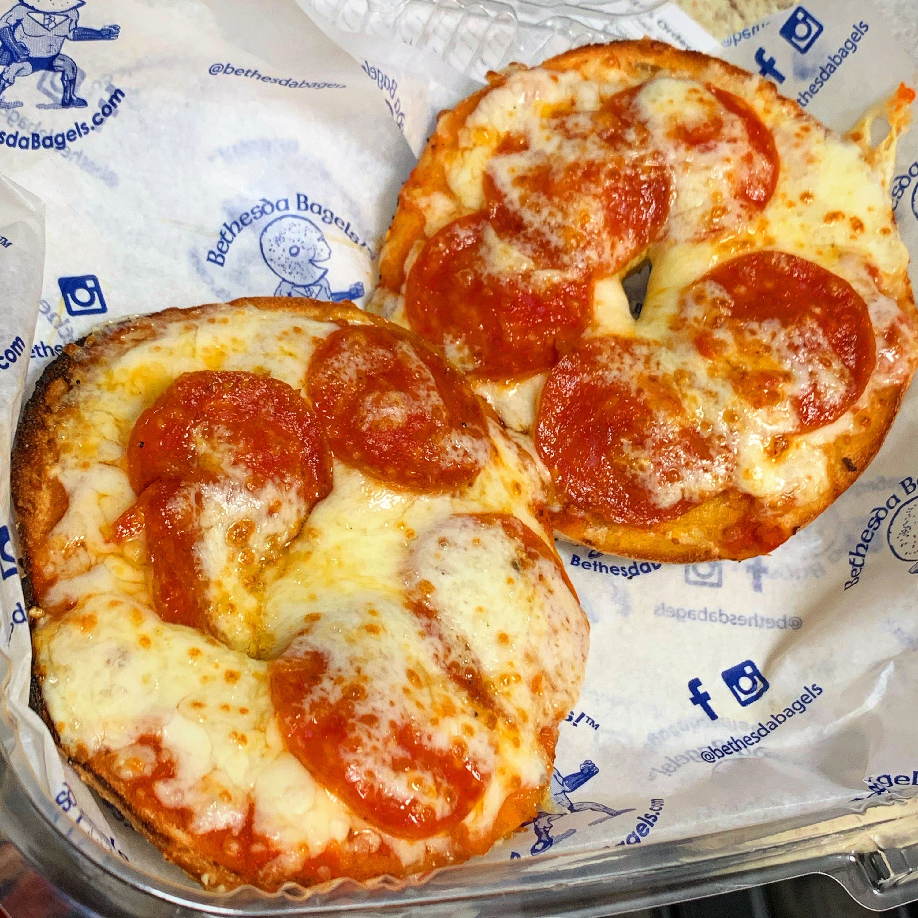 Bethesda Bagels' pepperoni pizza bagel. Photograph courtesy of Bethesda Bagels.