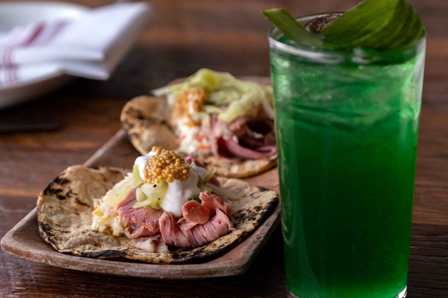 Corned beef tacos and green cocktails for St. Patricks Day brunch at Tico. Photograph by Clark Douglas.