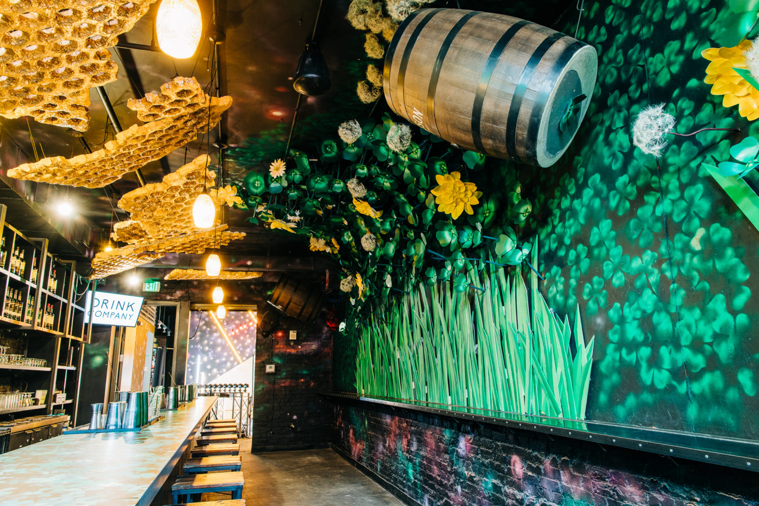 Four leaf clovers and beehives deck the walls of Publin, the second concept in Drink Company's Cherry Blossom PUB. Photograph by Nick Karlin.