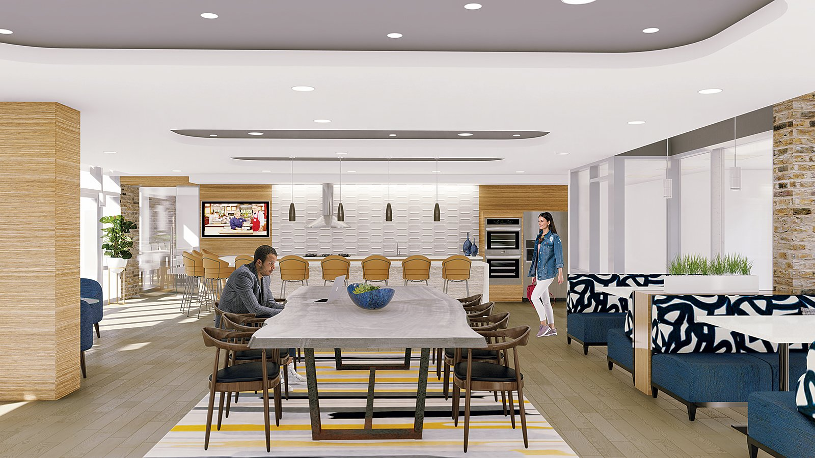 A rendering of a communal space at the Clark, set to begin leasing soon. Courtesy of the Clark.
