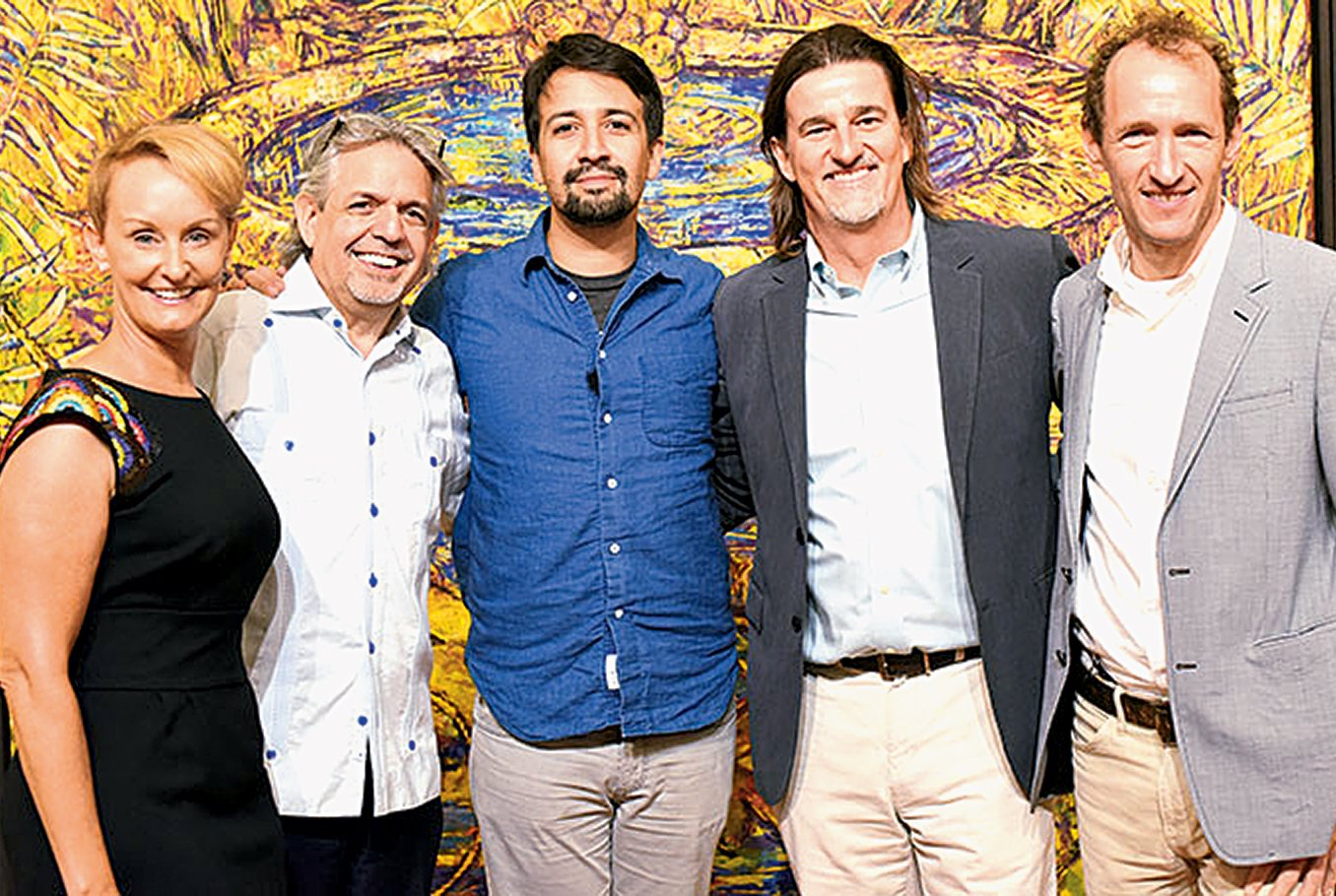 From left: Kristin Ehrgood, Luis Miranda, Lin-Manuel Miranda, Vadim Nikitine, and Jeffrey Seller. Photograph courtesy of the Flamboyan Arts Fund.