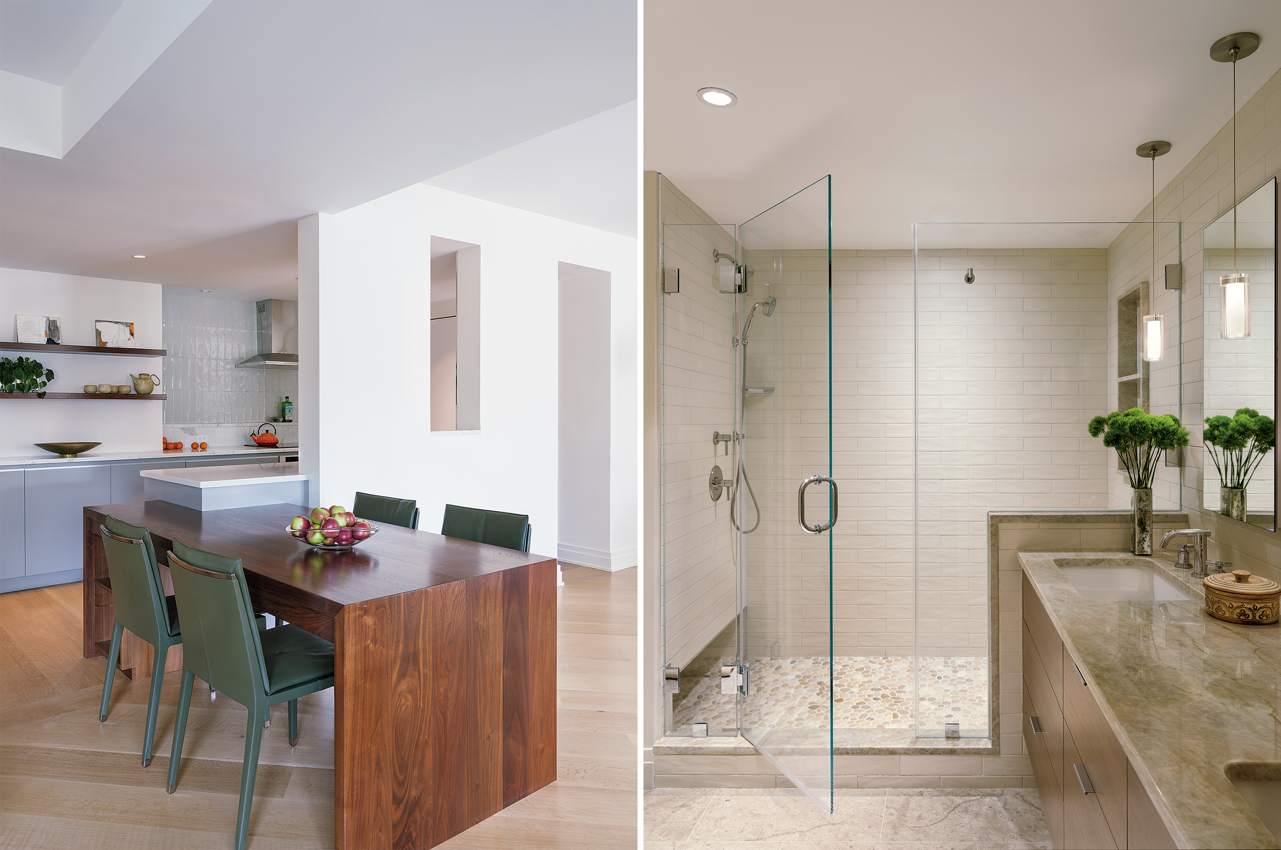 The homeowners' architect designed the built-in breakfast table, which can double as a workspace. The renovated master bathroom includes plenty of natural stone and a large walk-in shower that will be able to accommodate the couple as they age in place. Photographs by Angie Seckinger.