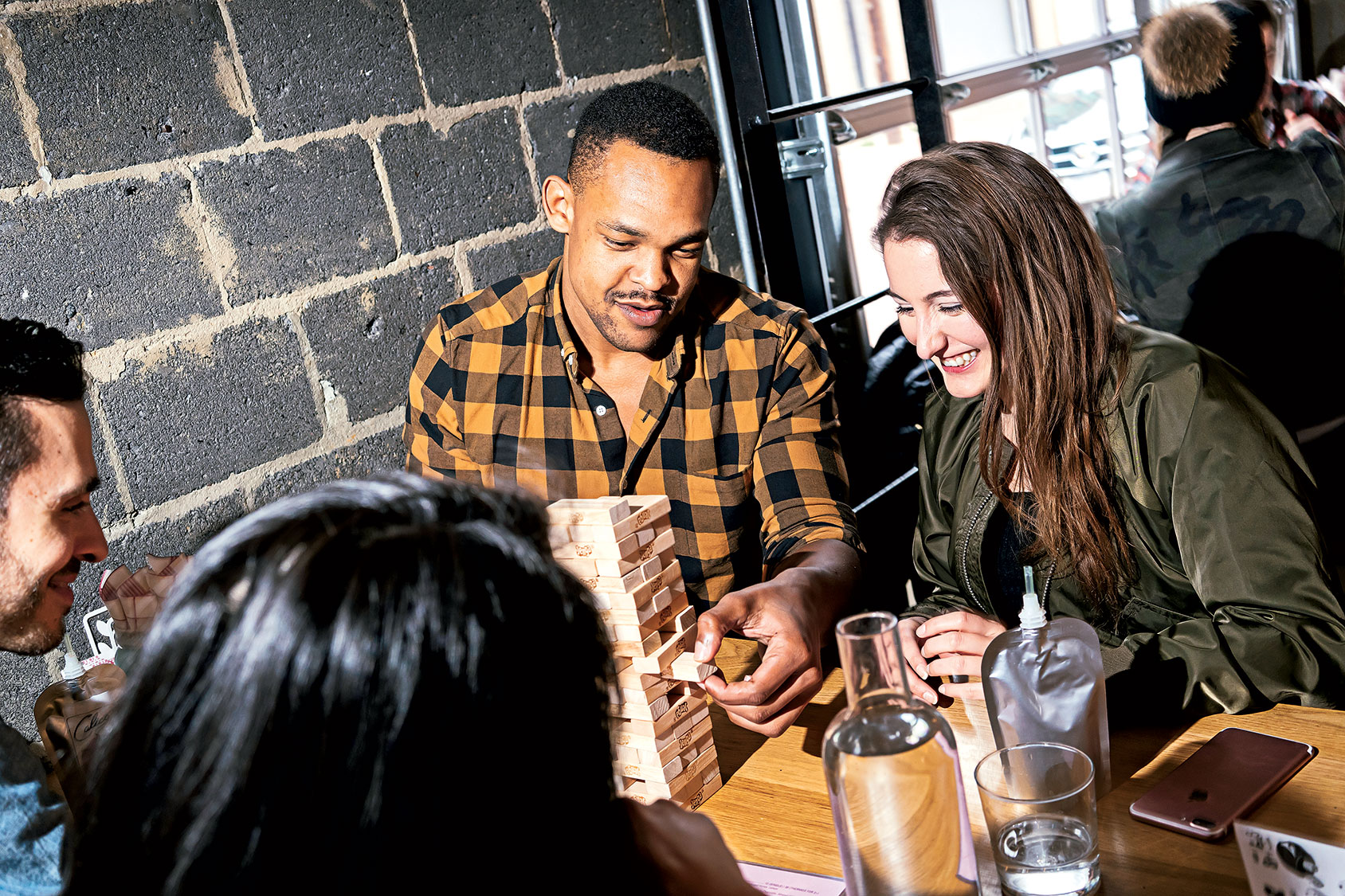 Hanging out (and playing Jenga) at Calico, the indoor/outdoor bar at Shaw's Blagden Alley.