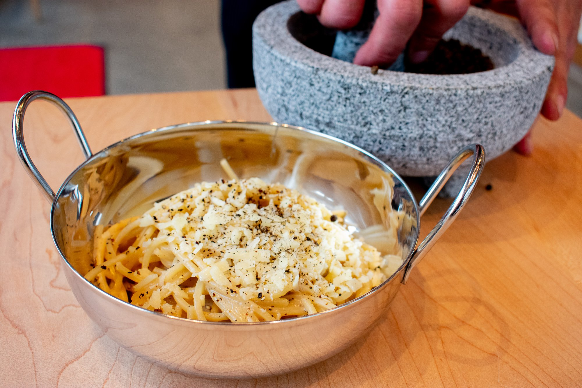 Cacio e pepe is one of three pastas on the menu. The pepper is ground with a mortar and pestle. Photograph by Meaghan Webster.