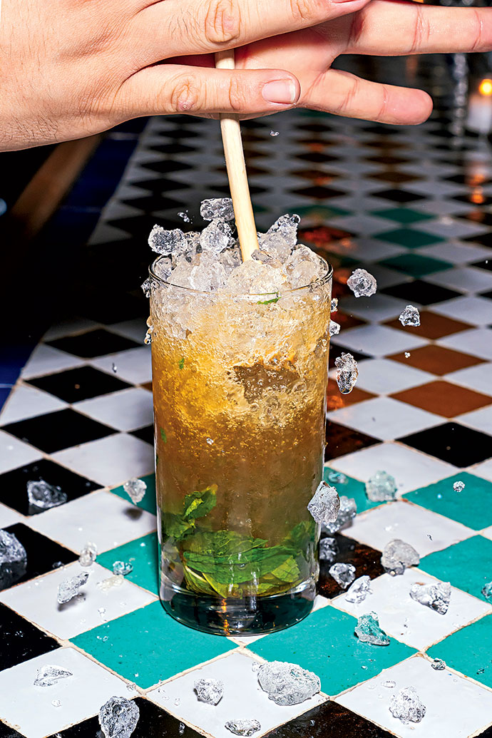 The Queen's Park Swizzle, with rum, lime, mint, and bitters, at the Green Zone in Adams Morgan.