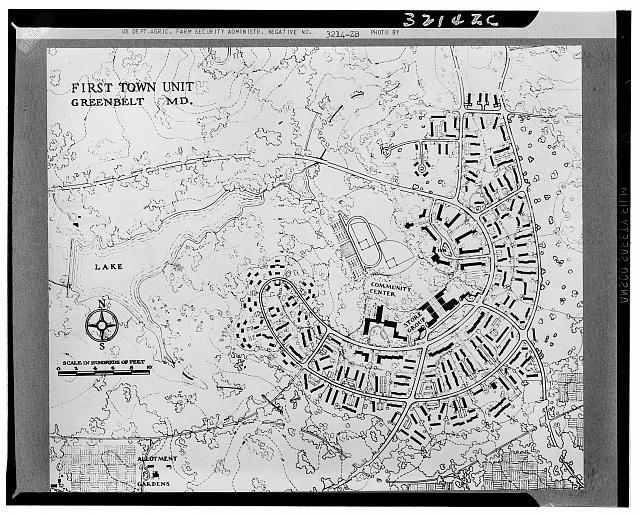 A map of Greenbelt's first town unit, 1936. Photograph courtesy of Library of Congress.