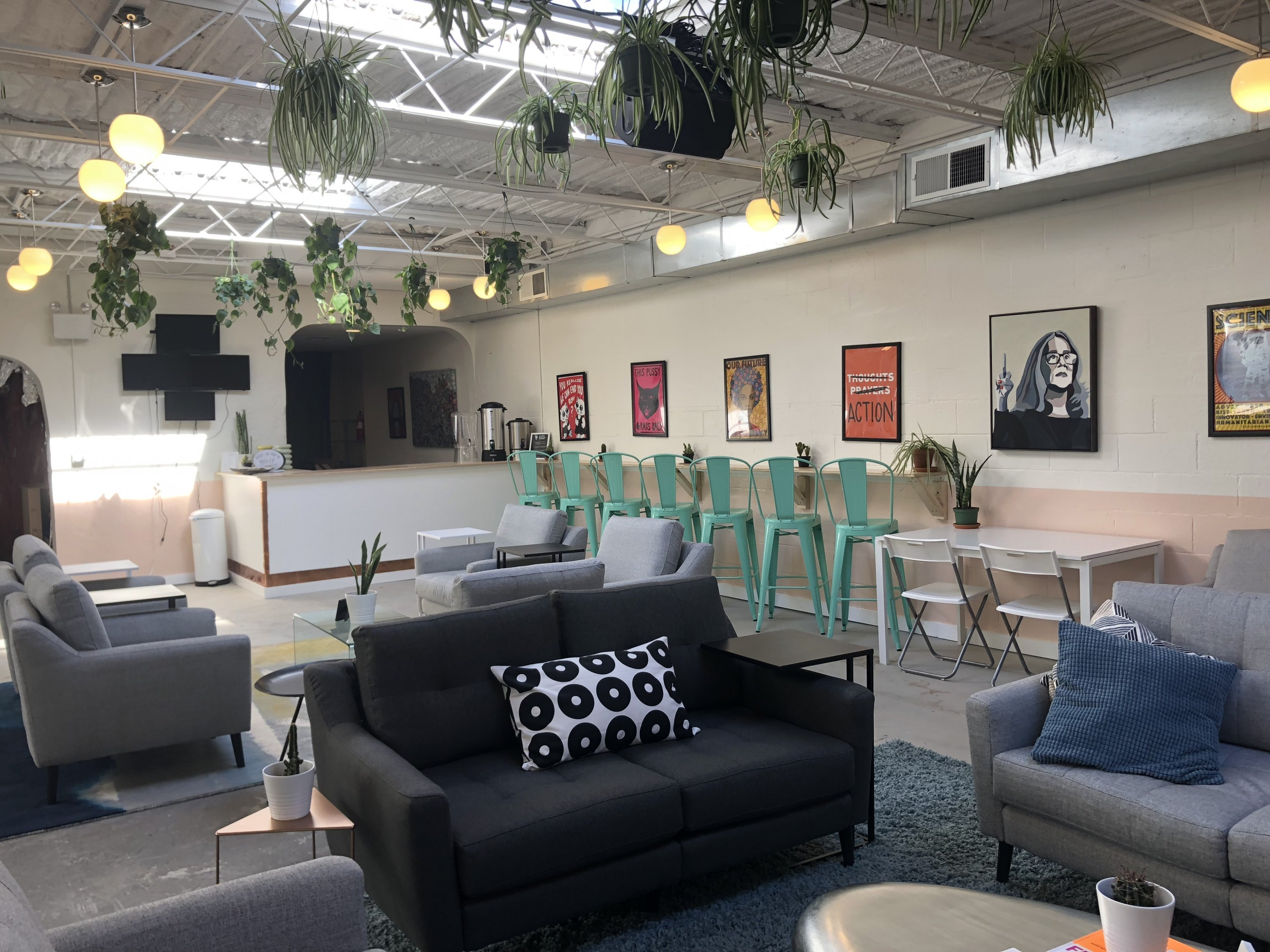 """It's very much an oasis as you can see from the plants and the calming colors,"" Howell says. ""A great space to kind of unwind and be around like-minded individuals."""