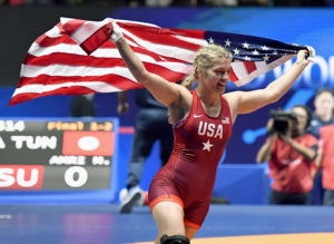 Helen Maroulis celebrates after winning gold at the world wrestling championships in Paris in 2017. Kyodo via AP Images.