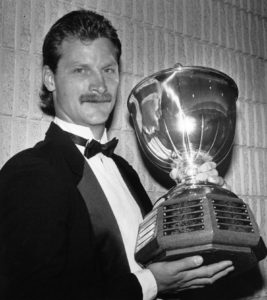 Washington Capitals defenseman Rod Langway with the Norris trophy he won in 1984. AP Photo/Bill Becker.