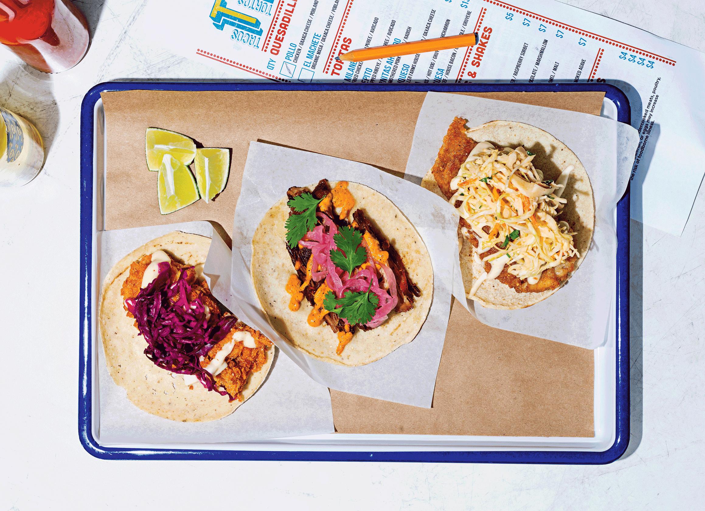 Crispy skate, Coca-Cola–marinated carnitas, and fried-shrimp tacos at Tacos, Tortas & Tequila.