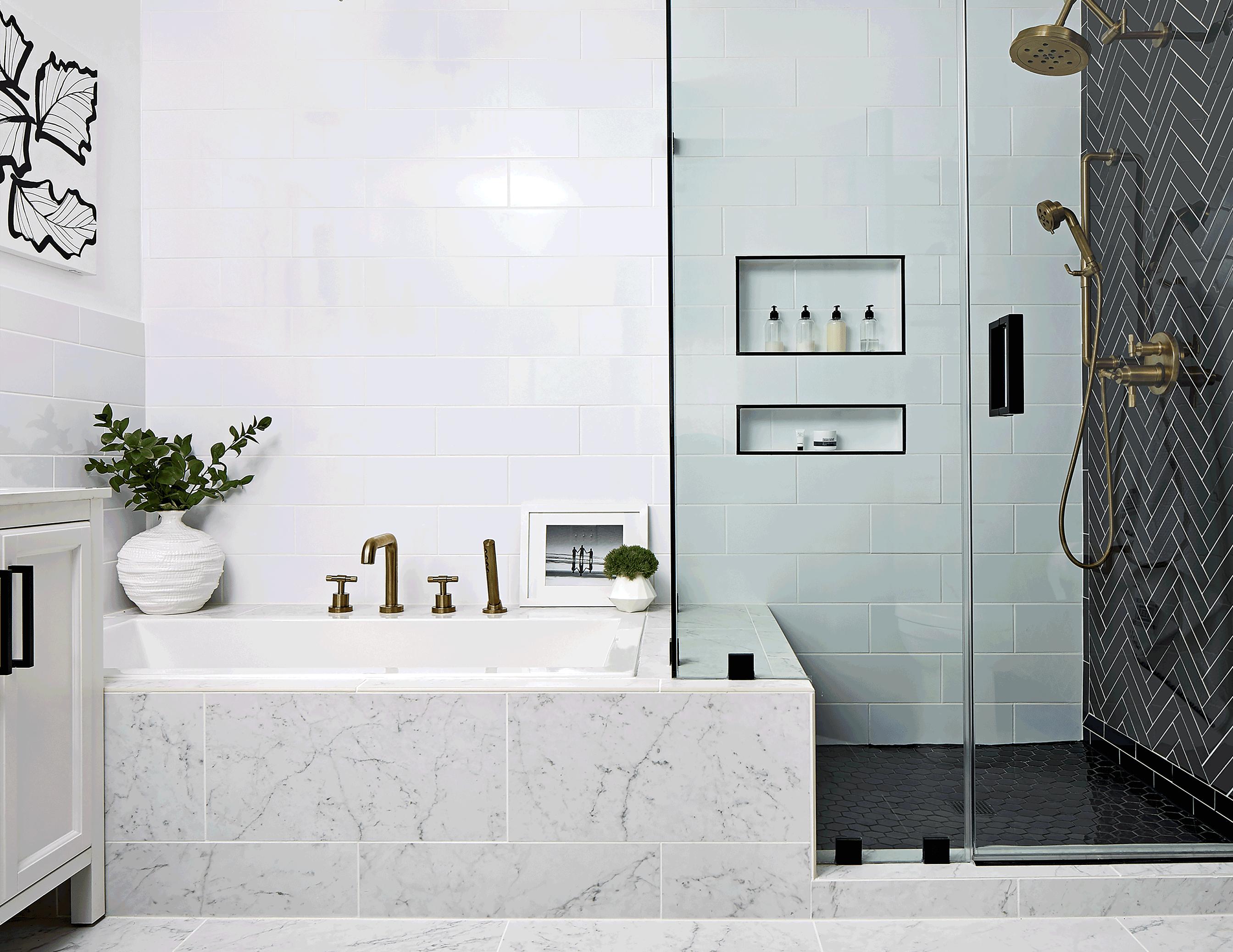 white bathroom with black fixtures