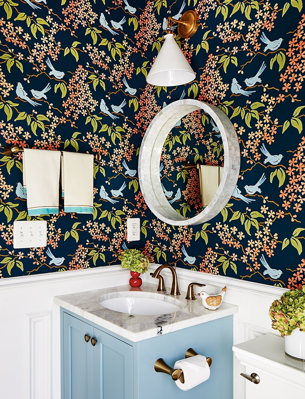 """Birds"" by Galbraith & Paul. Designer: Pamela Harvey for clients in Arlington. Photograph by Stacy Zarin Goldberg."